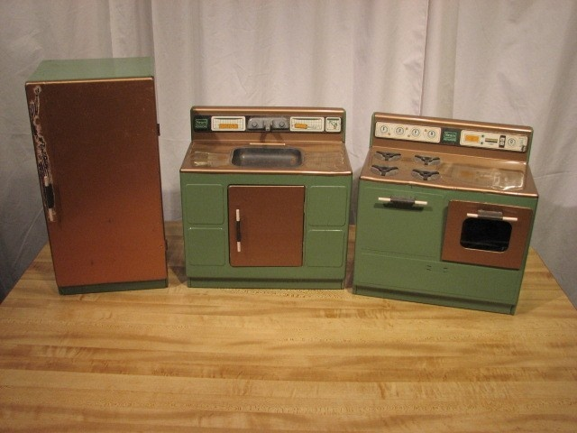 Vintage Sears Kenmore Childs 3 Piece Tin Kitchen Set Little