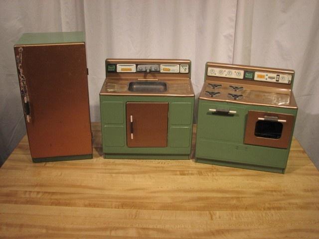 Vintage Sears Kenmore Childs 3 Piece Tin Kitchen Set