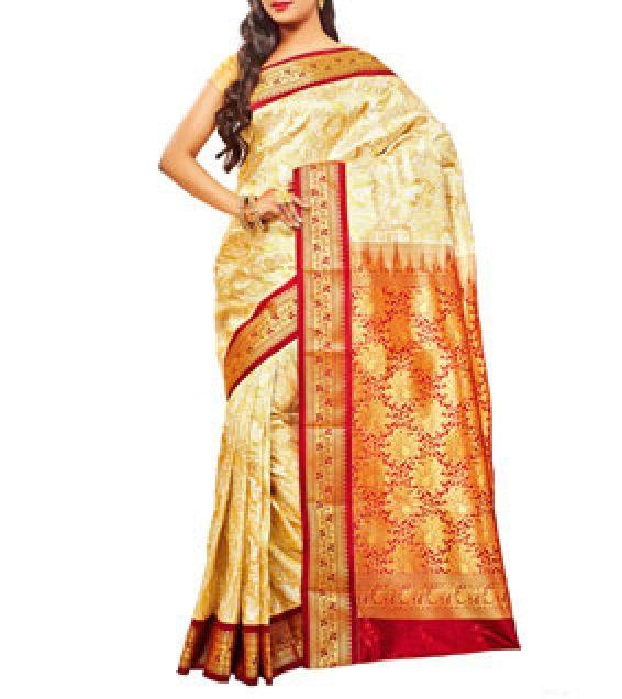 Off White & Maroon Kanjivaram Silk Saree
