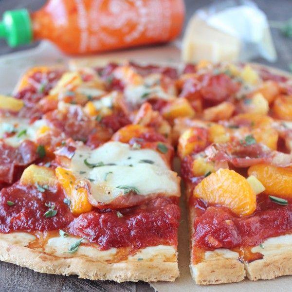Hawaiian Pizza with Sriracha Pizza Sauce and Prosciutto