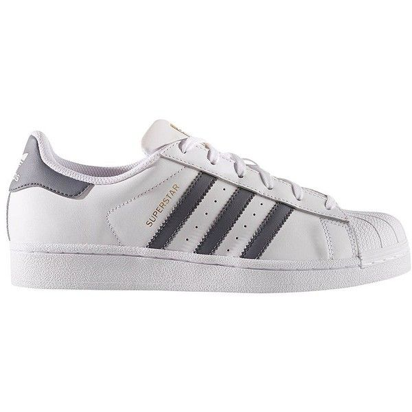 Adidas Women's Superstar Leather Sneakers ($80) ❤ liked on Polyvore featuring shoes, sneakers, white grey, white leather sneakers, white lace up sneakers, adidas trainers, white leather shoes and grey shoes