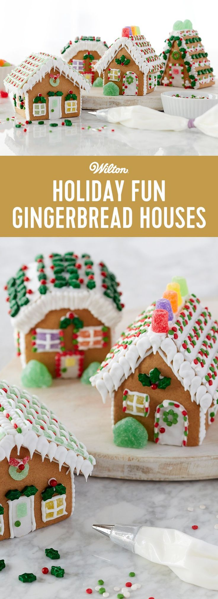 Holiday Fun Classic Mini Gingerbread Cottages - Have some fun these holidays as you decorate this gingerbread mini village. Kids and adults will like choosing a house to decorate as their own. It's easy with using festive candy, sprinkles and icing!