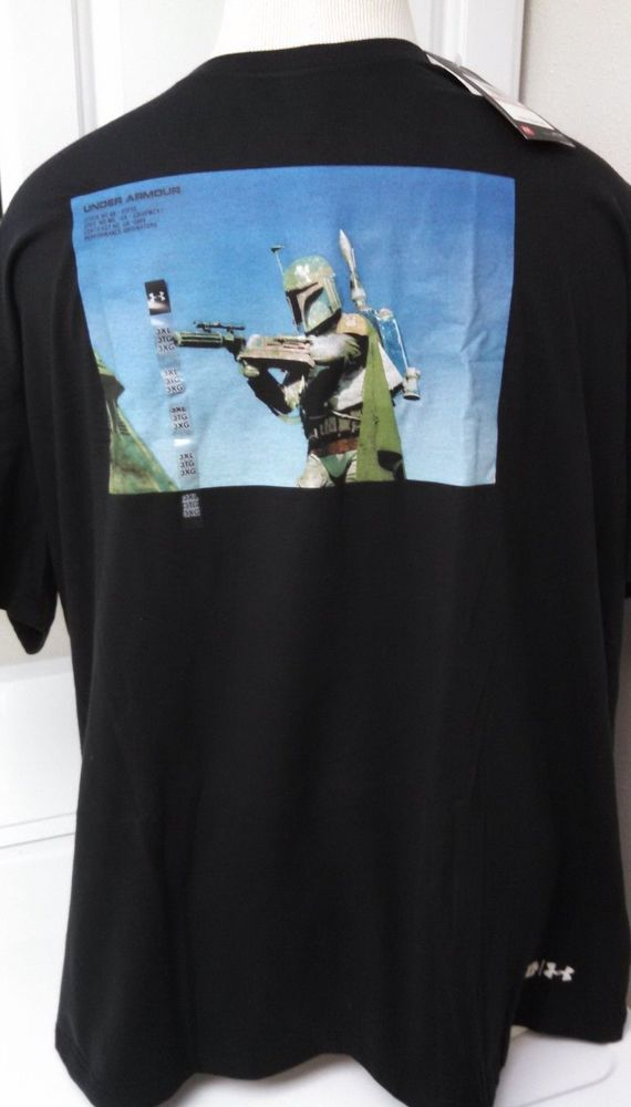 Mens Under Armour Star Wars Boba Fett T-Shirt 3XL Graphic Black Heat Gear UA #Underarmour #GraphicShortSleeveTee