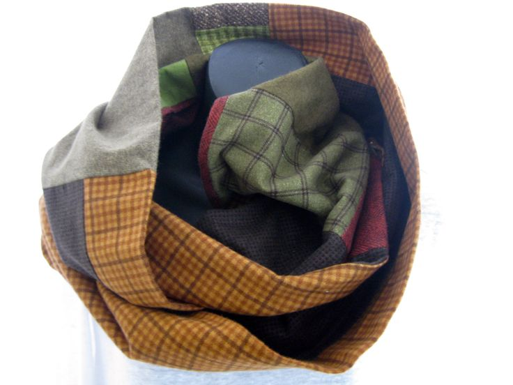 Large flannel plaid infinity scarf, OOAK patchwork soft preppy hypoallergenic scarf, artsy unisex scarf, men's women's flannel wrap, tweeds by thelavenderpear on Etsy