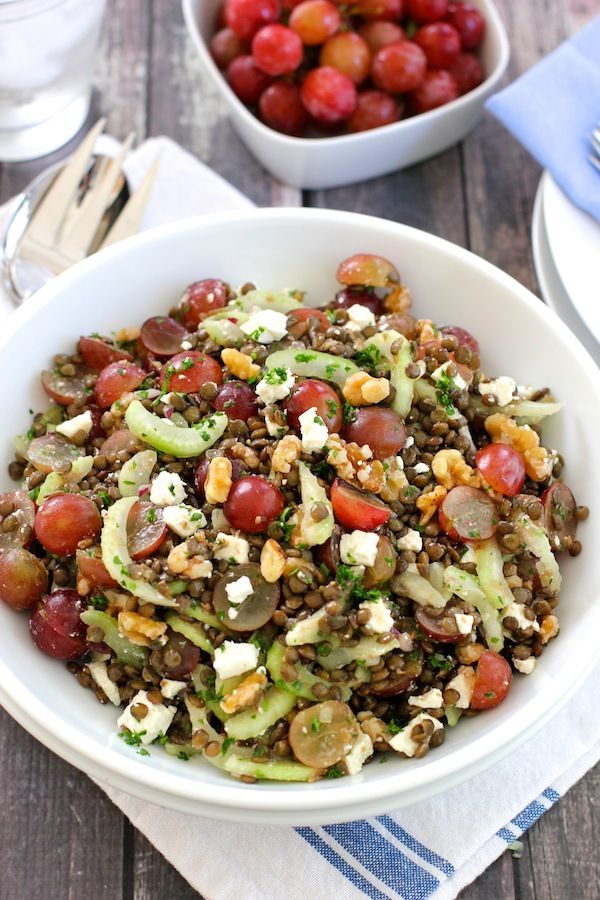 Lentil Salad with Grapes, Walnuts and Feta / green valley kitchen