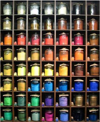 Rare earth pigments in dry jars used by painters with several types of mediums as egg yolk, oils, gum arabica, sugar to make dry pastels and acrylics to mention a few tempering methods.
