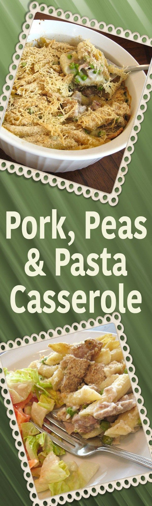 Pork Peas & Pasta Casserole recipe = easy comfort food! Leftover pork, peas pasta, and a white sauce, topped with bread crumbs & Parmesan - YUM! | delishable.net