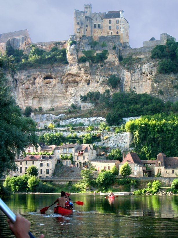 View of Chateau de Beynac from Canoe on Dordogne River , France.