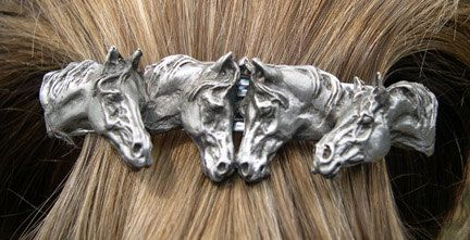 Four Horses barrette lead free pewter by ForgeHillSculpture, $19.50
