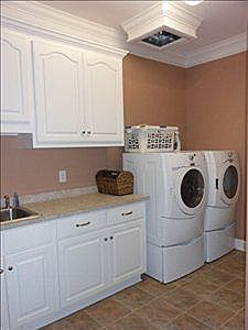 Laundry Room with Laundry Shoot ~ goldsbororealestatefinder.com   Washer Odor?   Sour Smelling Towels?   Stinky Clean Laundry?   http://WasherFan.com   Permanently Eliminate or Prevent Washer & Laundry Odor with Washer Fan™ Breeze™  #Laundry #WasherOdor