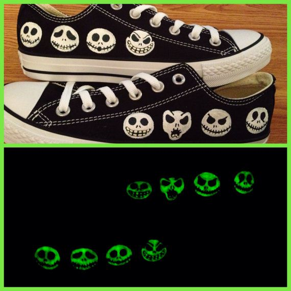 Nightmare Before Christmas Glow in the Dark Hand Painted Converse Shoes on Etsy, oh heck yeah! I can make these and save  $90.00