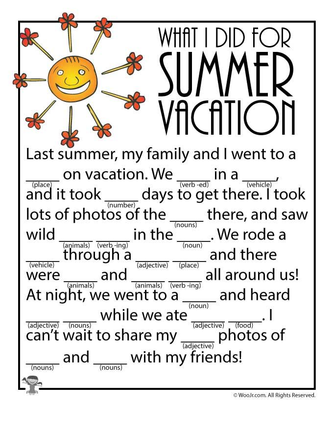 Summer Mad Lib Woo Jr Kid Activitie English For Lesson Vacation Holiday Essay Kids