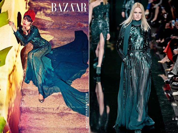 Rihanna wearing Elie Saab Fall 2014 in Harper's Bazaar Arabia July 2014
