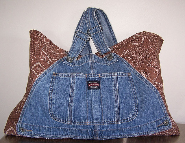 Bandana Bib Overall Tote Purse Craft Knitting Book Market Bag by daisydenims, via Flickr