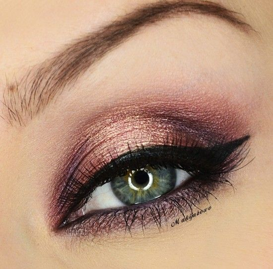 """Shimmery Bronze Eyeshadow / Cat Eye Look ~ achievable w/ UD Naked Palette """"Hustle"""" on lower lash line, inner and outer lid, """"Half-Baked"""" on center lid, """"Virgin"""" on brow bone"""