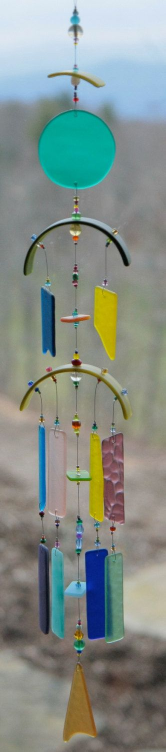 """Recycled Beach Glass Wind Chime """"One of a Kind"""" Hand Made Stained Glass,Ornament, Sun Catcher, windchimes via Etsy."""