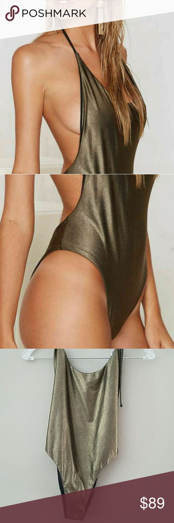 NASTY GAL Dipped In Gold one piece Self better for people with B and above cup sizes. I was so excited about this suit and then it was too big for my chest area. Cute high and low cut. Shimmer in sun. Can't find anywhere. NWT Nasty Gal Swim One Pieces