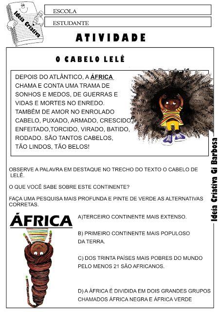 Atividade Dia da Consciência Negra O Cabelo de Lelê continente Africano Pesquisa