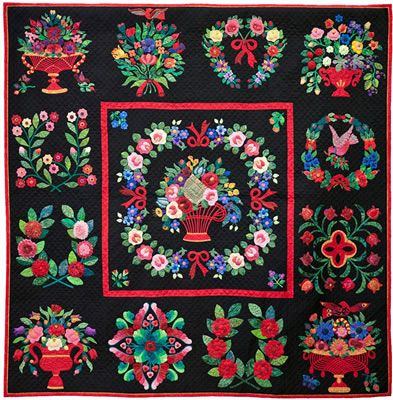 """Never Again.... Again"" by Joan Dorsay (Ontario, Canada).  Hand appliqued and hand quilted. She says:  ""After I finished my first Baltimore Album quilt, I told myself I never, ever wanted to make another one… but I just could not stop."" The block designs are by Elly Sienkiewicz"