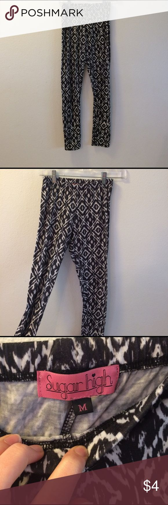 Tribal print leggings These leggings have been worn a good amount of times but still are in great shape.  They are a little thin so they can be a little see through. Also the tag says Medium but they fit more like a Small.    -I ship the same day or the next day📦 -Bundle 15% off 2 or more items👍🏻 -Trade👎🏻 -Take offers👍🏻 sugar high Pants Leggings