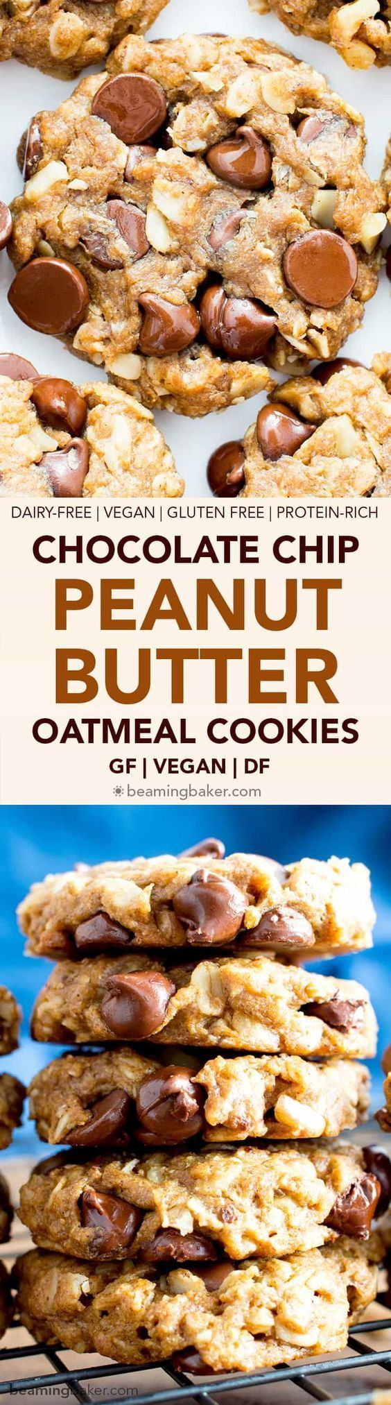 Vegan and Gluten Free Peanut Butter Chocolate Chip Oatmeal Cookies