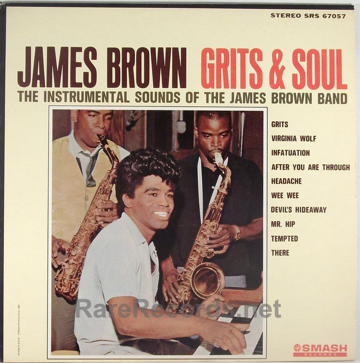 James Brown - Grits & Soul (Smash; 1964) Instrumental James Brown album issued through a loophole in his contract with King Records - he could record elsewhere if he didn't sing!  The copy shown is still sealed. #records #vinyl #albums #LP  Click here to learn more about this record:http://www.rarerecords.net/store/james-brown-grits-soul-sealed-stereo-1964-lp/