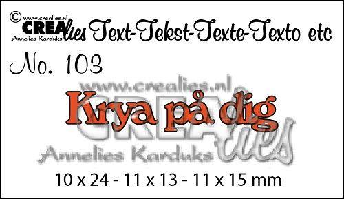 Svenska ord die no. 103 Krya på dig