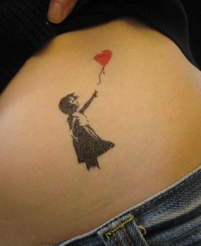 Little Girl with Heart Balloon Graffiti Tattoo