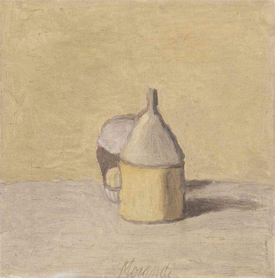 View Natura morta con tre oggetti (1949) By Giorgio Morandi; oil on