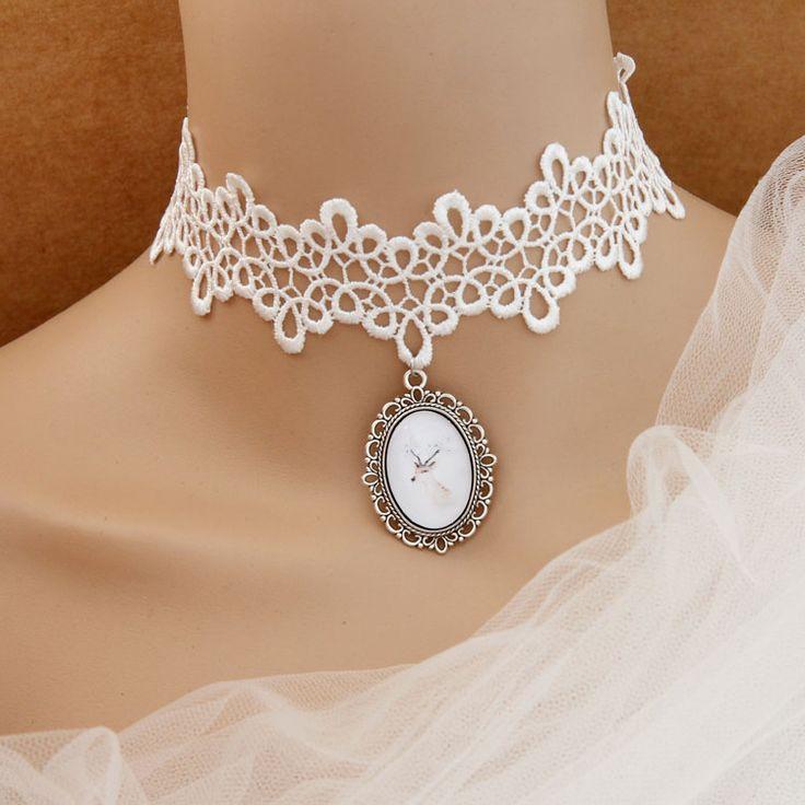 White Lace Choker - ( myb take off the pendant )  2.60 DOLLARS   AliExpress
