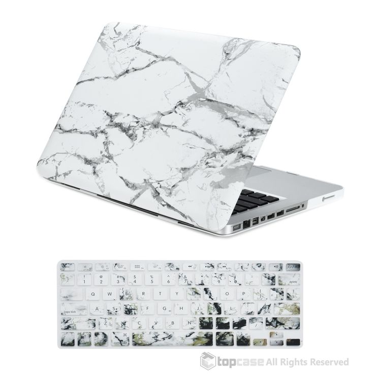 "TopCase 13-Inch Pro 2 in 1 White Marble Rubberized Hard Case and Keyboard Cover for MacBook Pro 13"" Model A1278"