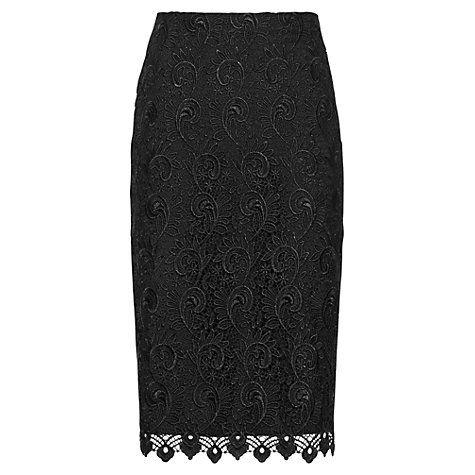 Buy Reiss Orta Lace Pencil Skirt, Black Online at johnlewis.com
