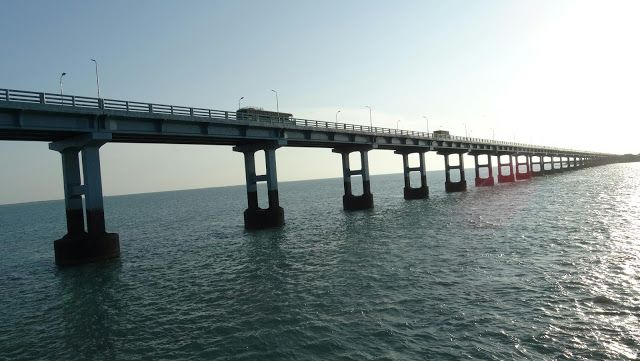 Pamban Bridge, second longest sea bridge in India which s centuries old also holding a cantilever railway bridge situated in Pamban, Rameswa...