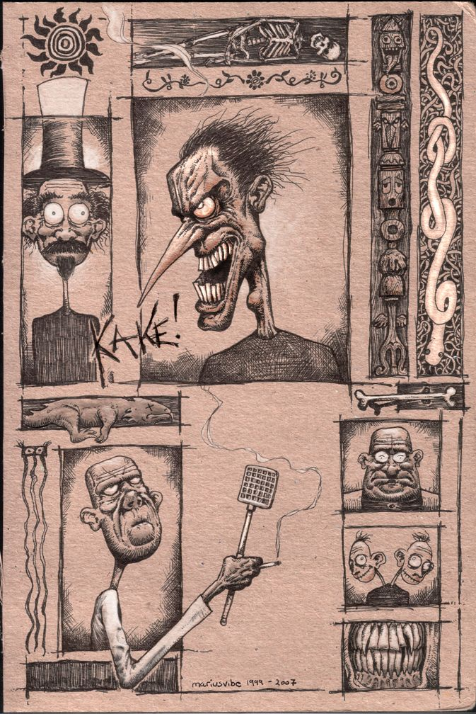 """CAKE! [Marius Vibe 1999/2007] - Drawn with pen on cardboard during particularly boring college lectures, and later scanned and """"adjusted"""" in Photoshop. Don't ask me what it all means, though. #surreal #dark #funny #pen #cardboard"""