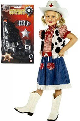 Girls Cowboy Cowgirl Fancy Dress Costume Outfit WITH Gun Age 4-12 (7-9 years)