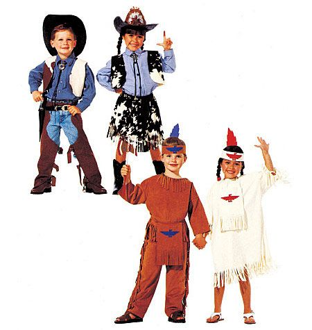 Children's, Boys' and Girls' Cowboys and Indians Costumes
