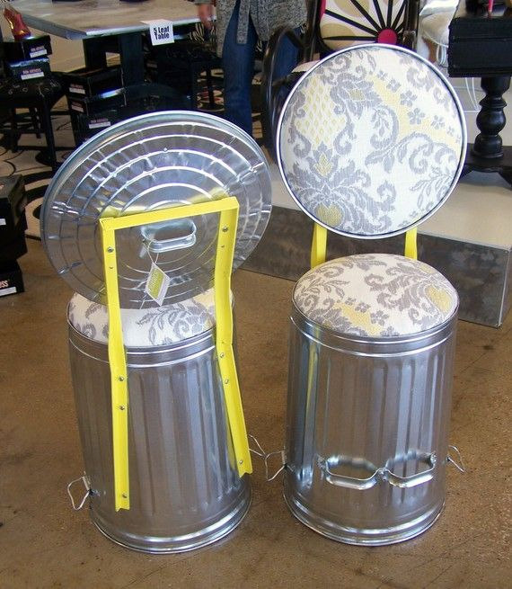 Bar Stools for a man cave! Perfect...but with a manly fabric, of course!    StoolThe Chartreuse Garage Trash Cans Jack  Zenny by jrpummel, $235.50