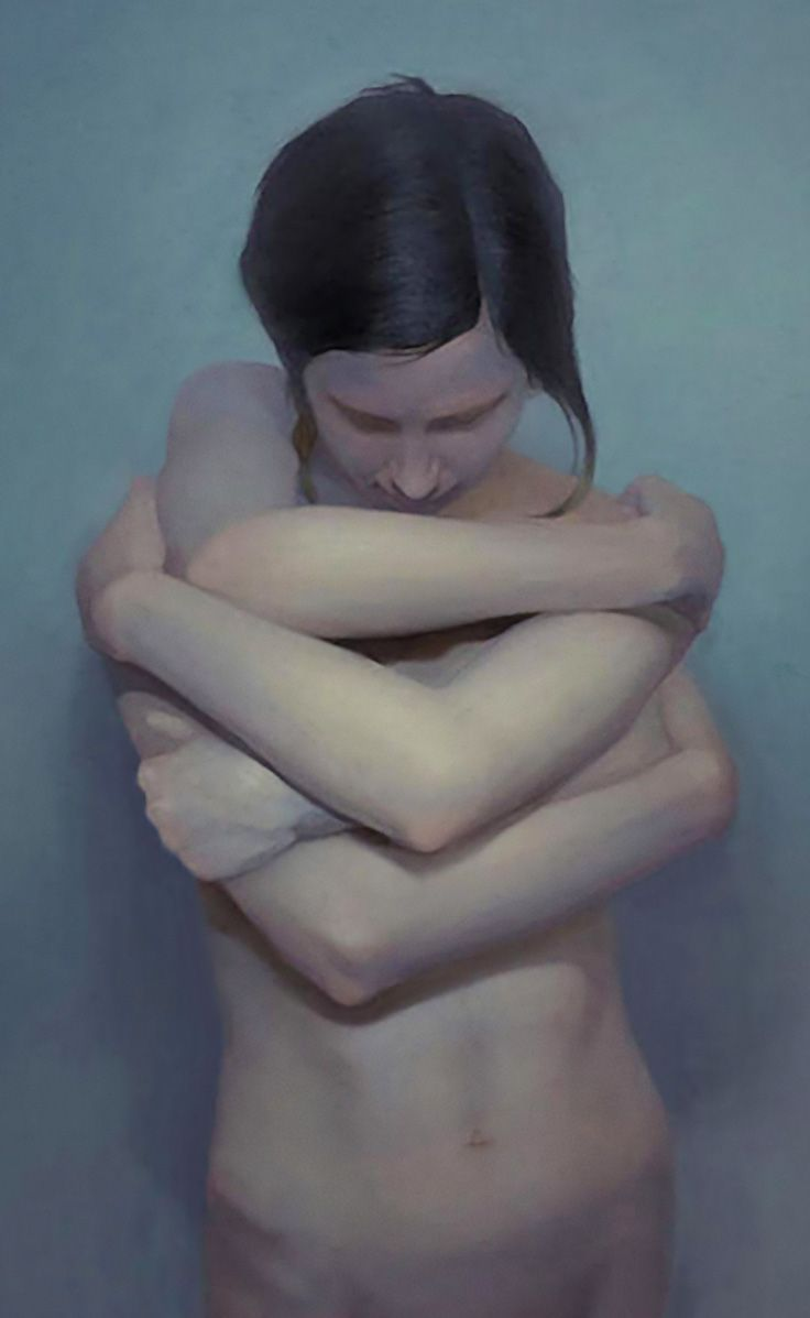 """Hugs II"" - Yang Cao, oil {figurative #surrealism art female four-arm torso woman painting} yangcaoart.com"