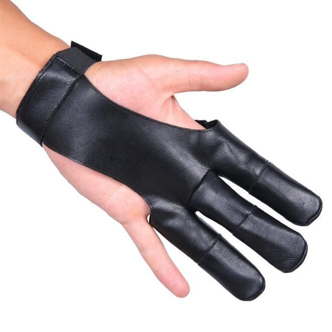Men and women's genuine leather archery gloves sports 3 finger cow leather protect gloves R078
