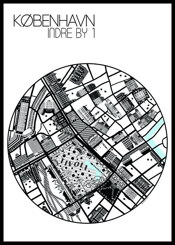 Indre By 1 Poster 50x70 cm