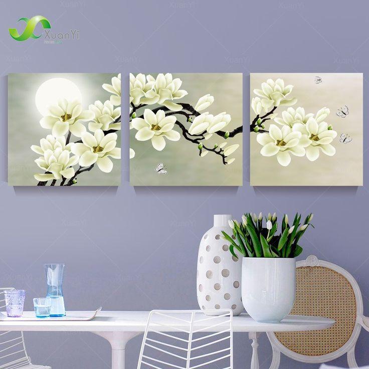 3 панель современного абстрактного цветок на холсте стены искусства Cuadros цветы фото домашнего декора для гостиной без рамки PR191купить в магазине XuanYi Home Arts co., LtdнаAliExpress
