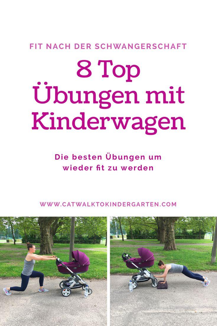 Fit nach der Schwangerschaft - das sind die 8 besten Übungen mit Kinderwagen. Ein effektives Mama Workout mit Baby.