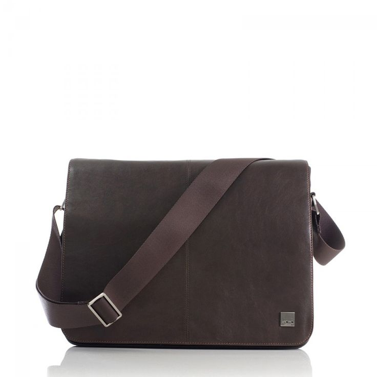 "Brown Knomo Bungo 15"" Expanding Laptop Messenger Bag 1"