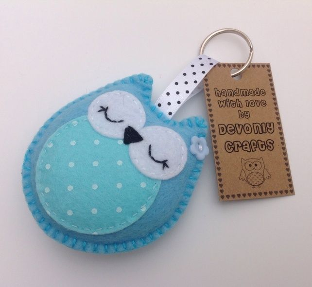 Sleepy Owl Felt Keyring, Bag Charm - Turquoise. £4.50