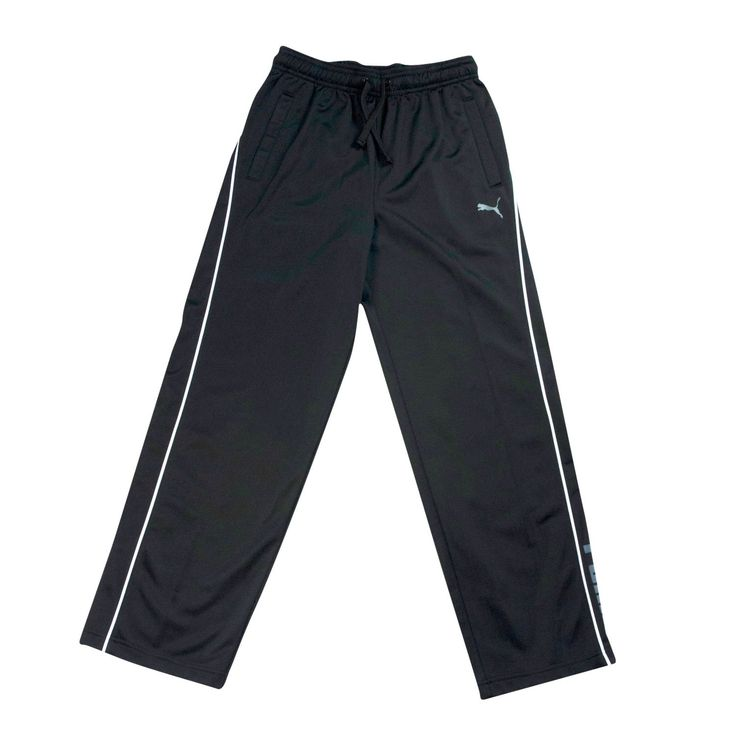 Puma Big Boys 8-20 Black Athletic Pants - Mesh Knit Warm-Up Pants Size Large. Say hi to his new favorite black pants. With its moisture-wicking properties and relaxed fit, these sweatpants are perfect for throwing on at playtime. Puma's classic design and subtle branding will keep him looking classy on the playground or on the field. We know ? now they are your favorite pants, too. Puma's black athletic pants are comfortable and easy to wear. Sport Pants have a low key drawstring…