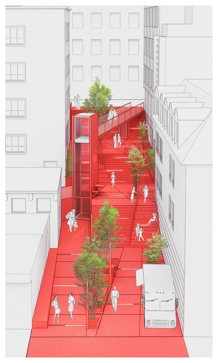 Week1: The space between two blocks bring the personality to the city. Different functional space are created here and promote social conduction.