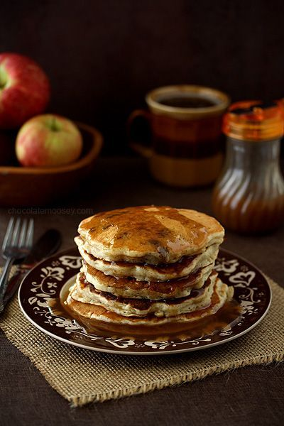 Apple Sausage Pancakes with homemade Apple Cider Syrup - Not all pancakes have to be dessert based.