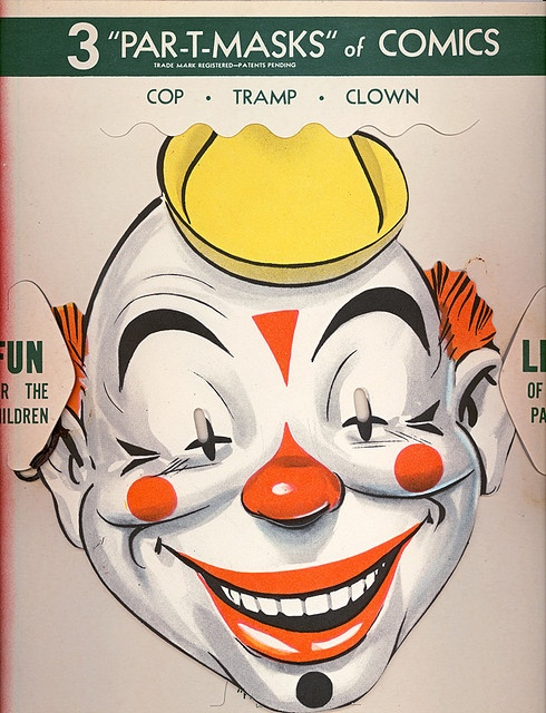 par-t-mask Clown 3of3: Clipart Antiques, Antiques Paper, Par T Masks Clowns, Circus Toys, Carnivals Free, Clowns Pierrot Harlequin, Circus Carnivals, Free Themed, Clowns Pierrots Harlequin