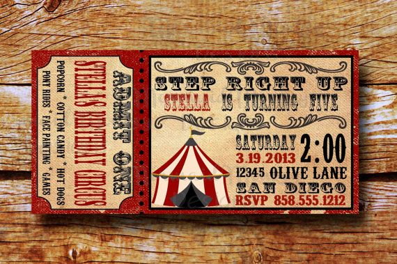 Vintage Circus Invitation - Birthday Circus Invitation - Carnival Invitation - Printable - Stella