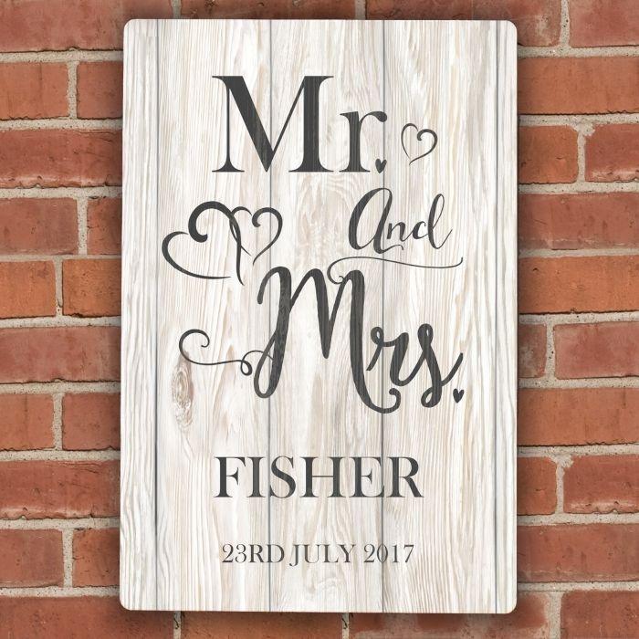 Wedding Sign Wedding Venue Personalised Mr & Mrs Metal Sign Bride and Groom